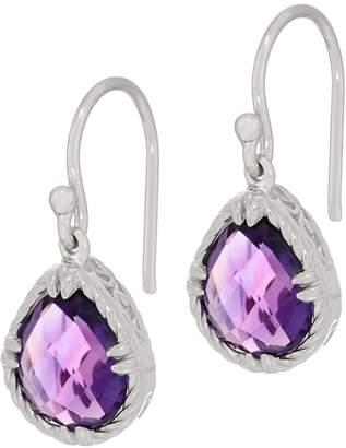 Delatori DeLatori Sterling Silver Pear Shaped Amethyst Drop Earrings