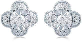 FINE JEWELRY 3/8 CT. T.W. Genuine White Diamond Sterling Silver 10.6mm Flower Stud Earrings