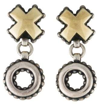 Lagos Two-Tone X & O Drop Earrings