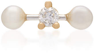 Delfina Delettrez Convertible 18K Gold Diamond and Pearl Earring