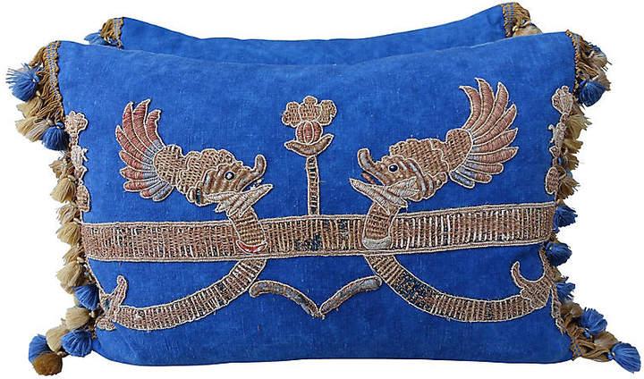 Metallic Appliqued Blue Linen Pillows-Pr