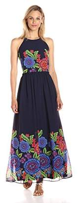 Taylor Dresses Women's Zinnea Border Floral Long and Full Maxi Dress