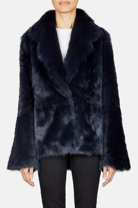 Pologeorgis Collared Short Shearling Coat - Navy