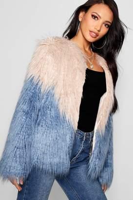 boohoo Two Tone Mongolian Faux Fur Coat