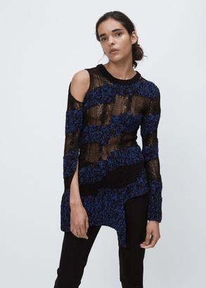 Ann Demeulemeester multi yarn black/blue split hem crew $1,213 thestylecure.com
