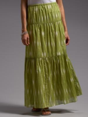 Ikat-print tiered skirt
