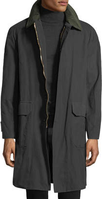 Stefano Ricci Men's Waxed Cotton Parka Coat with Leather Trim