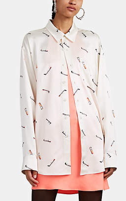 Alexander Wang Women's Stained-Cigarette Satin Button-Front Blouse - Cream