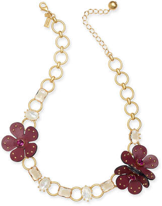 "Kate Spade Gold-Tone Multi-Stone & Imitation Pearl Leather Flower Collar Necklace, 16"" + 2"" extender"