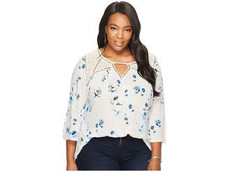 Lucky Brand Plus Size Floral Lace Mix Peasant Top Women's Long Sleeve Pullover