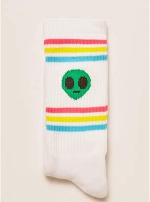 Topman Mens White Alien Stripe Tube Socks