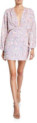 retrofete Aubrielle Plunging Long-Sleeve Sequined Dress
