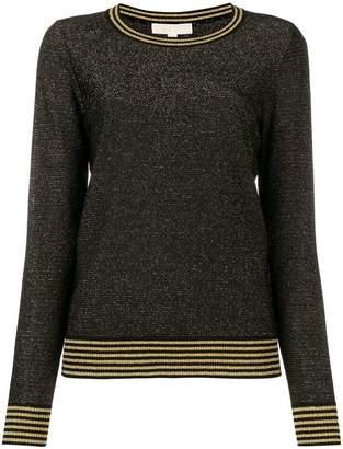 MICHAEL Michael Kors striped hem glitter detail sweater