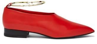 Jil Sander High Cut Leather Flats - Womens - Red