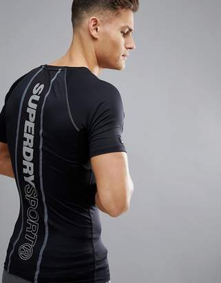 Superdry Sport Athletic Panel T-Shirt In Black