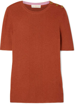 Tory Burch Taylor Ribbed Cashmere Sweater - Brick