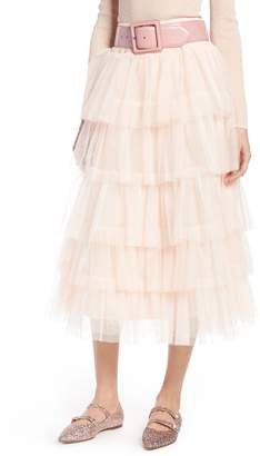 Halogen x Atlantic-Pacific Tiered Tulle Midi Skirt