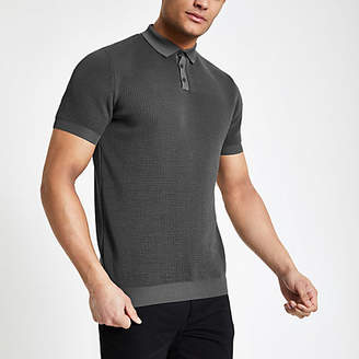 River Island Mens Grey slim fit textured polo shirt