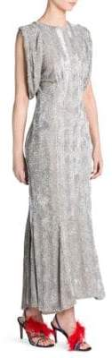 ATTICO Sequin Gathered-Sleeve Gown
