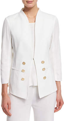 Misook 3/4-Sleeve Button-Front Jacket, Petite