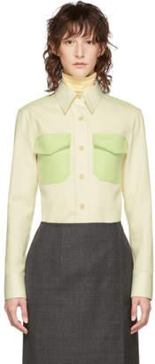 Calvin Klein (カルバン クライン) - Calvin Klein 205W39NYC オフホワイト & グリーン ウエスタン シャツ
