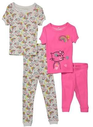 Freestyle Revolution Short Sleeve Tops, Shorts, & Pants Pajamas, 4-piece Set (Toddler Girls)