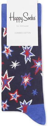 Happy Socks Mens Navy Blue Casual Star Cotton-Blend Socks