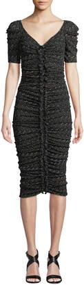 Diane von Furstenberg Romana Ruched Dot-Print V-Neck Midi Cocktail Dress