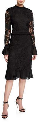 Tory Burch Floral Guipure Lace Mock-Neck Long-Sleeve Pencil Dress w/ Ruffle Trim