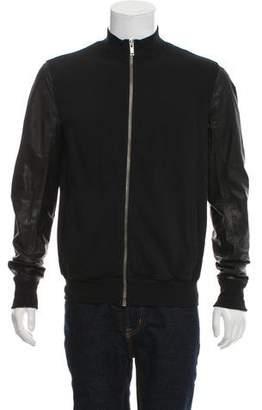 Rick Owens Leather Sleeve Bomber Jacket