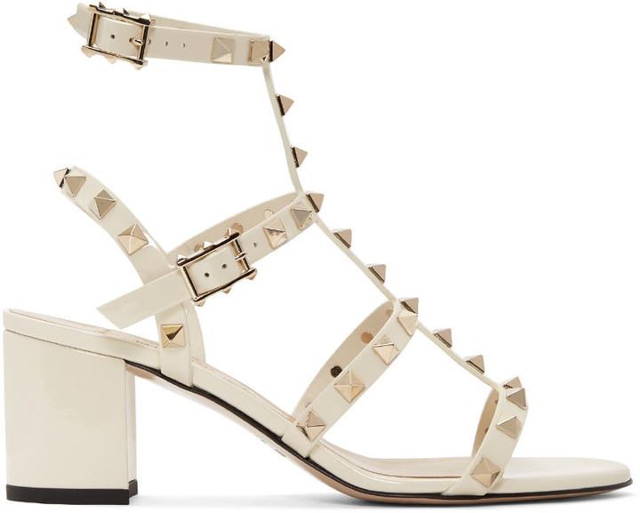 Valentino Ivory Rockstud Gladiator Sandals