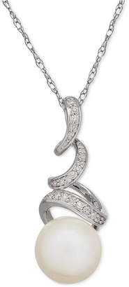 Honora Style Cultured Freshwater Pearl (10mm) & Diamond (1/10 ct. t.w.) Twisted Pendant Necklace in Sterling Silver