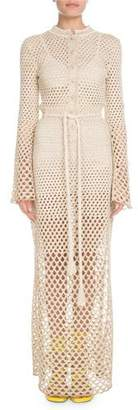 Proenza Schouler Bell-Sleeve Button-Front Tie-Waist Metallic-Crochet Long Dress