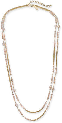 "INC International Concepts I.n.c. Gold-Tone Beaded Double Long Layer Necklace, 60"" + 3"" extender"
