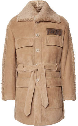 Fendi Belted Logo-Appliquéd Shearling Jacket