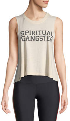 Spiritual Gangster Varsity Cropped Graphic Muscle Tank