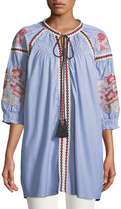 Romeo & Juliet Couture Smocked-Yoke Embroidered Tie-Neck Tunic