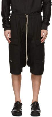 Rick Owens Black Drawstring Cargo Pods Shorts