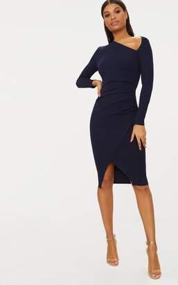 PrettyLittleThing Navy Asymmetric Neck Pleated Wrap Midi Dress