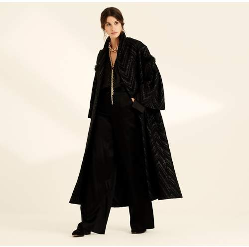 Black Raffia Stripe Long Opera Coat
