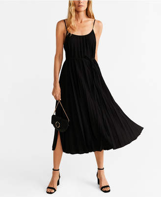 MANGO Pleated Midi Dress