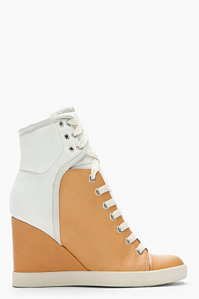 See by Chloe Tan Two-Tone Leather Sam Sneaker Wedges