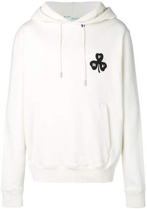 Off-White back embroidered logo hoodie