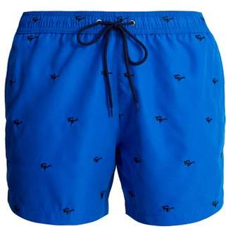 Paul Smith Sunglasses Embroidered Swim Shorts - Mens - Blue