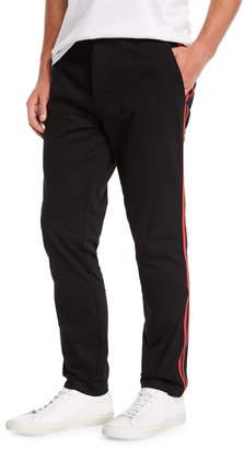 Ovadia & Sons Men's Side-Stripe Chino Track Pants