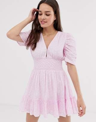 Cleobella sadie mini dress with cinched waist and puff sleeves