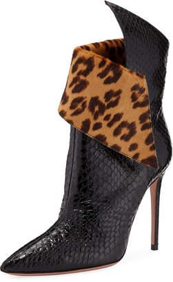 Aquazzura Night Fever Snakeskin Booties w/ Leopard-Print Collar