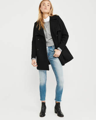 Abercrombie & Fitch Classic Wool-Blend Peacoat