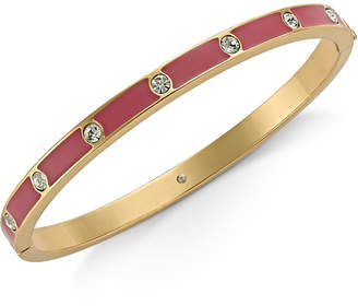 Kate Spade Gold-Tone Crystal Enamel Hinged Bangle Bracelet