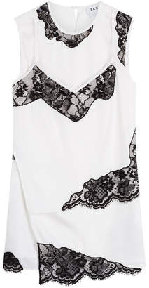 DKNY Silk Top with Lace Inserts